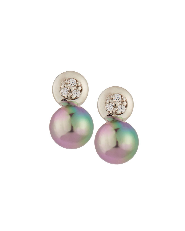 Majorica Crystal & Pearl Drop Earrings In Gray