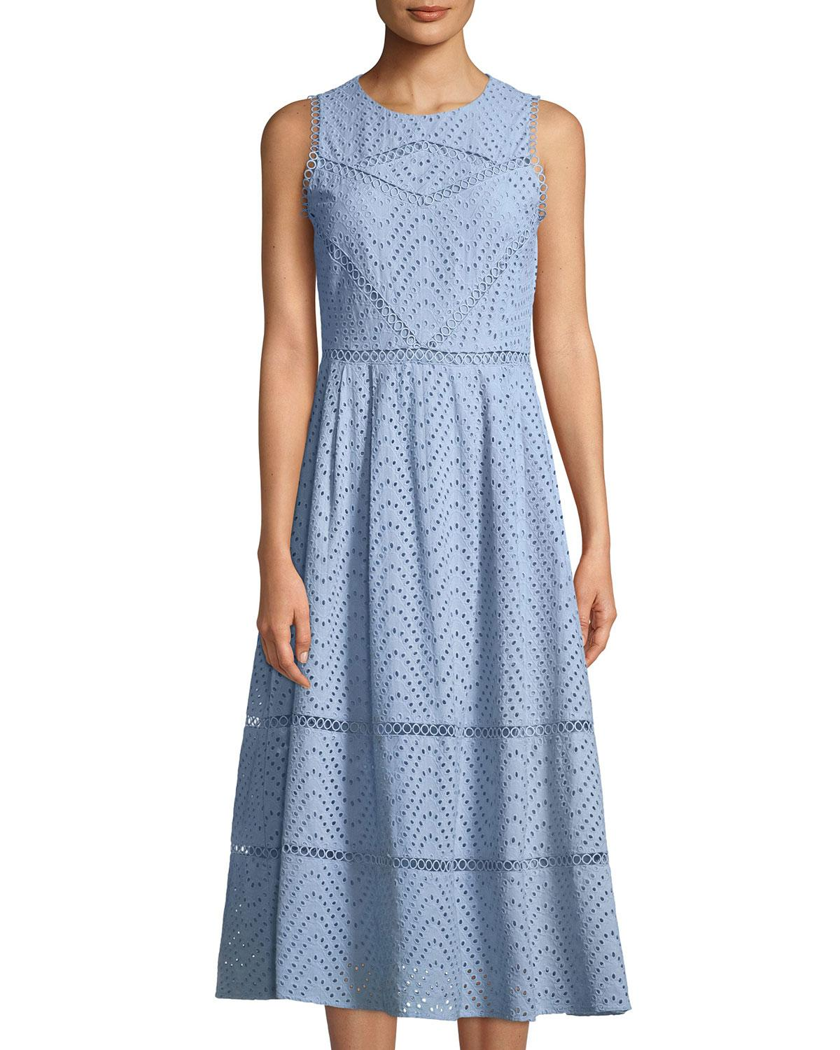 db1bc65282b3 Tahari Asl Sabina Eyelet-Embroidered A-Line Midi Dress In Blue ...