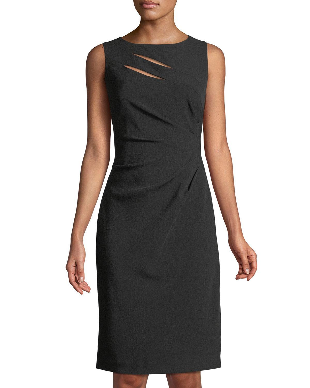 4e94f0138be5 Tahari Asl Side-Ruched Cutout Sheath Dress In Black | ModeSens