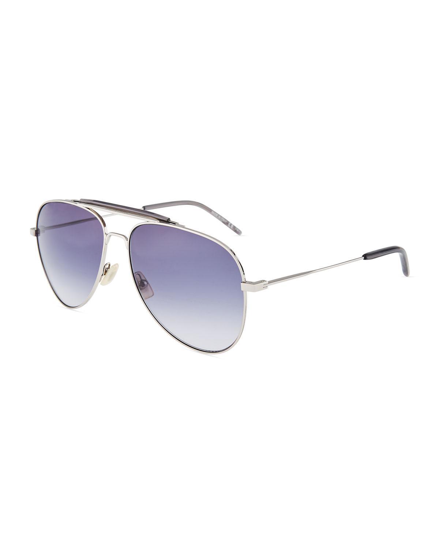 f923166a70 Saint Laurent Men s Metal Aviator Sunglasses In Silver