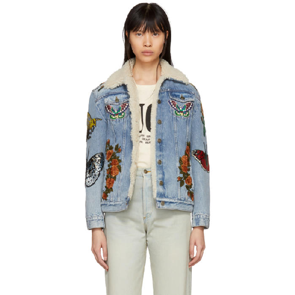709fc2768 Gucci Women's Embroidered Denim Shearling Jacket In Blue | ModeSens