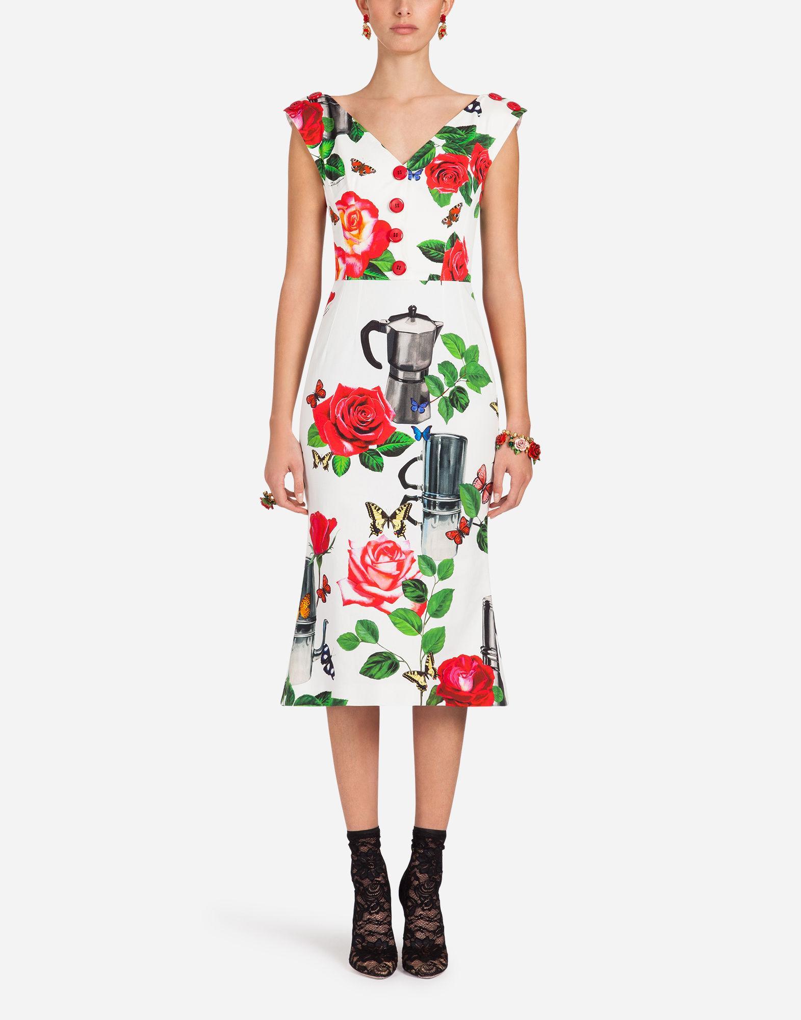 b1395d6ceea Dolce & Gabbana Printed Cotton Drill Dress In White | ModeSens
