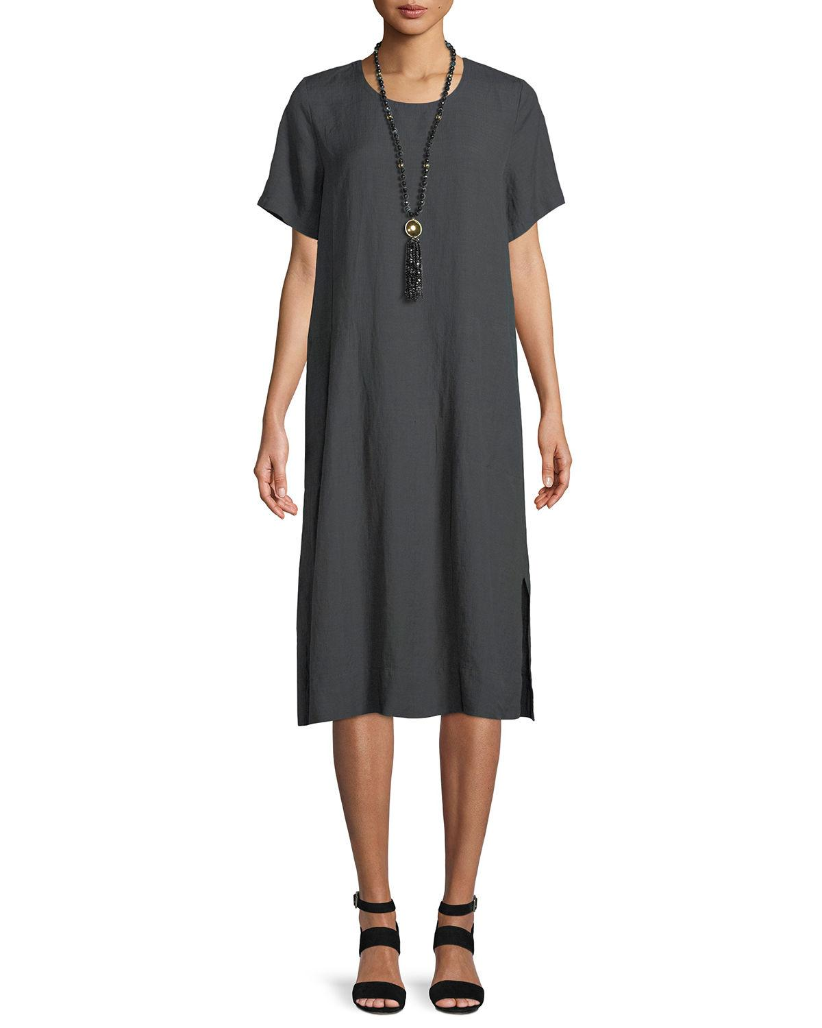 Eileen Fisher Organic Linen-Blend Shift Dress, Plus Size In Dark Gray