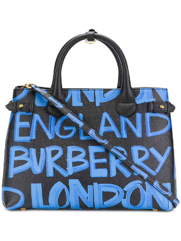 5bcf25c74f0f Burberry Banner Medium Leather Graffiti Top Handle Bag In Black ...