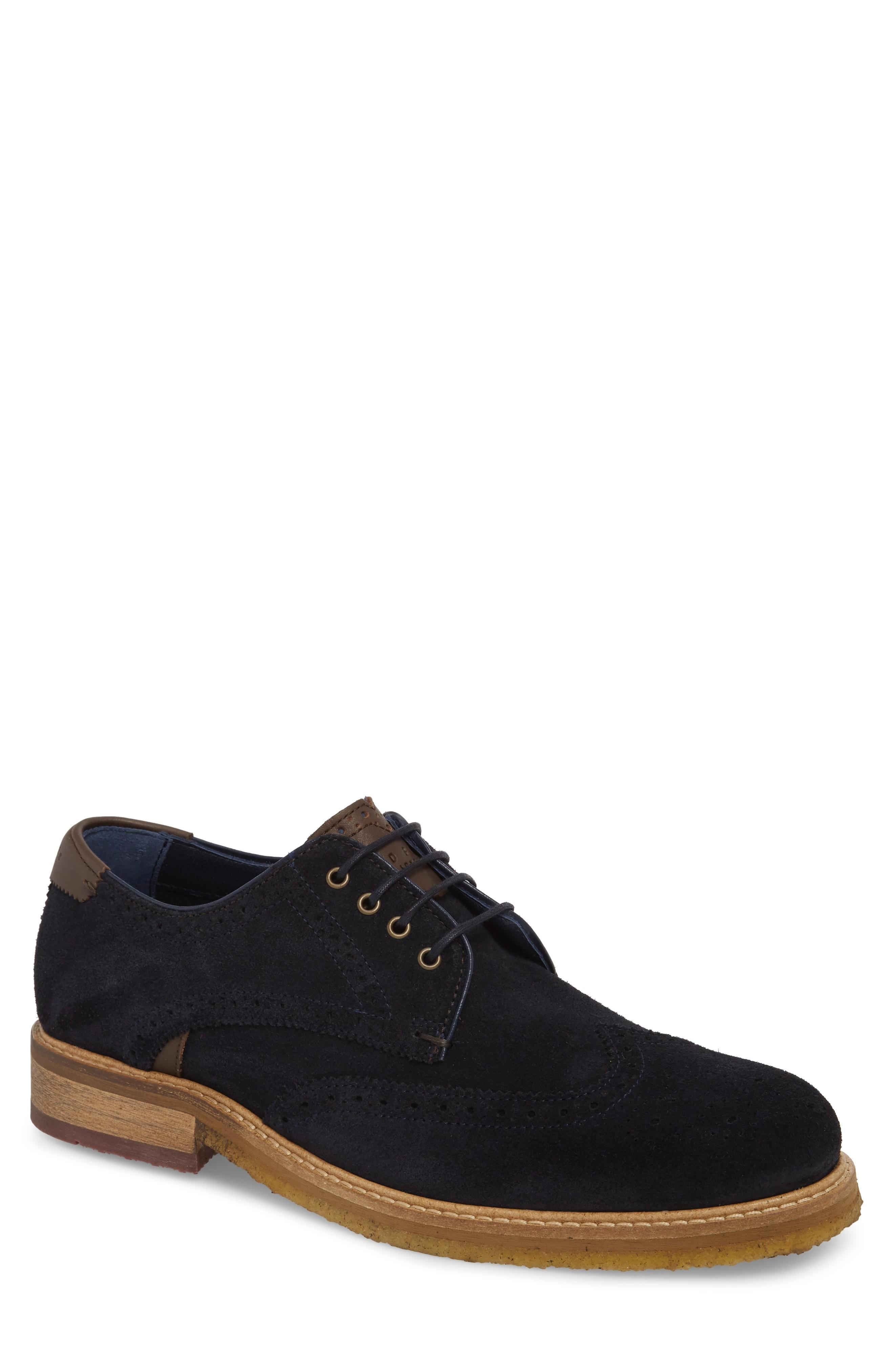 Ted Baker Brycces Wingtip Oxford In Dark Blue Suede