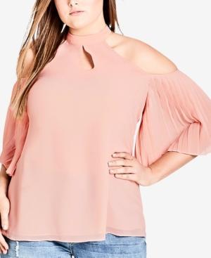 74b8c1e458d City Chic Trendy Plus Size Cold-Shoulder Halter Top In Ballet Pink ...