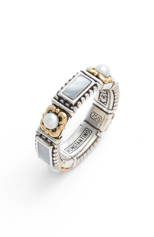 Konstantino Etched Sterling Silver & Pearl Band Ring In Silver/ Gold/ White