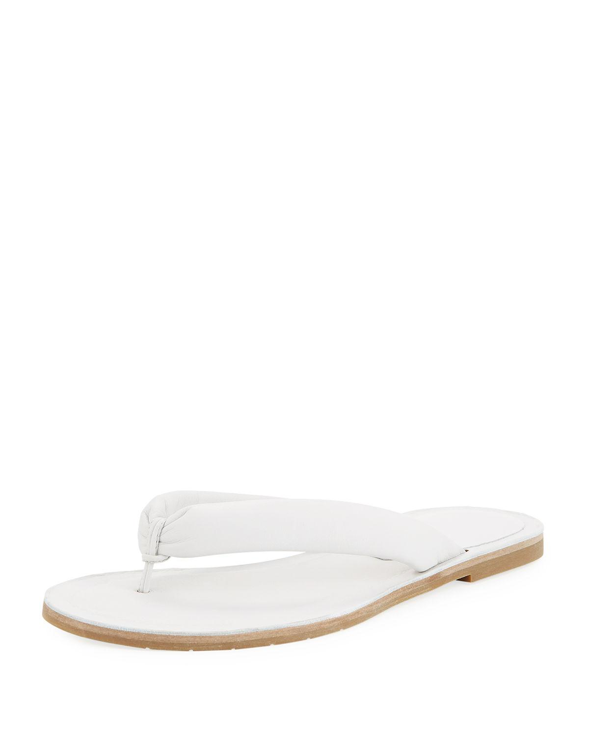 4b637609921 Eileen Fisher Flue Flat Washed Leather Thong Sandals In White