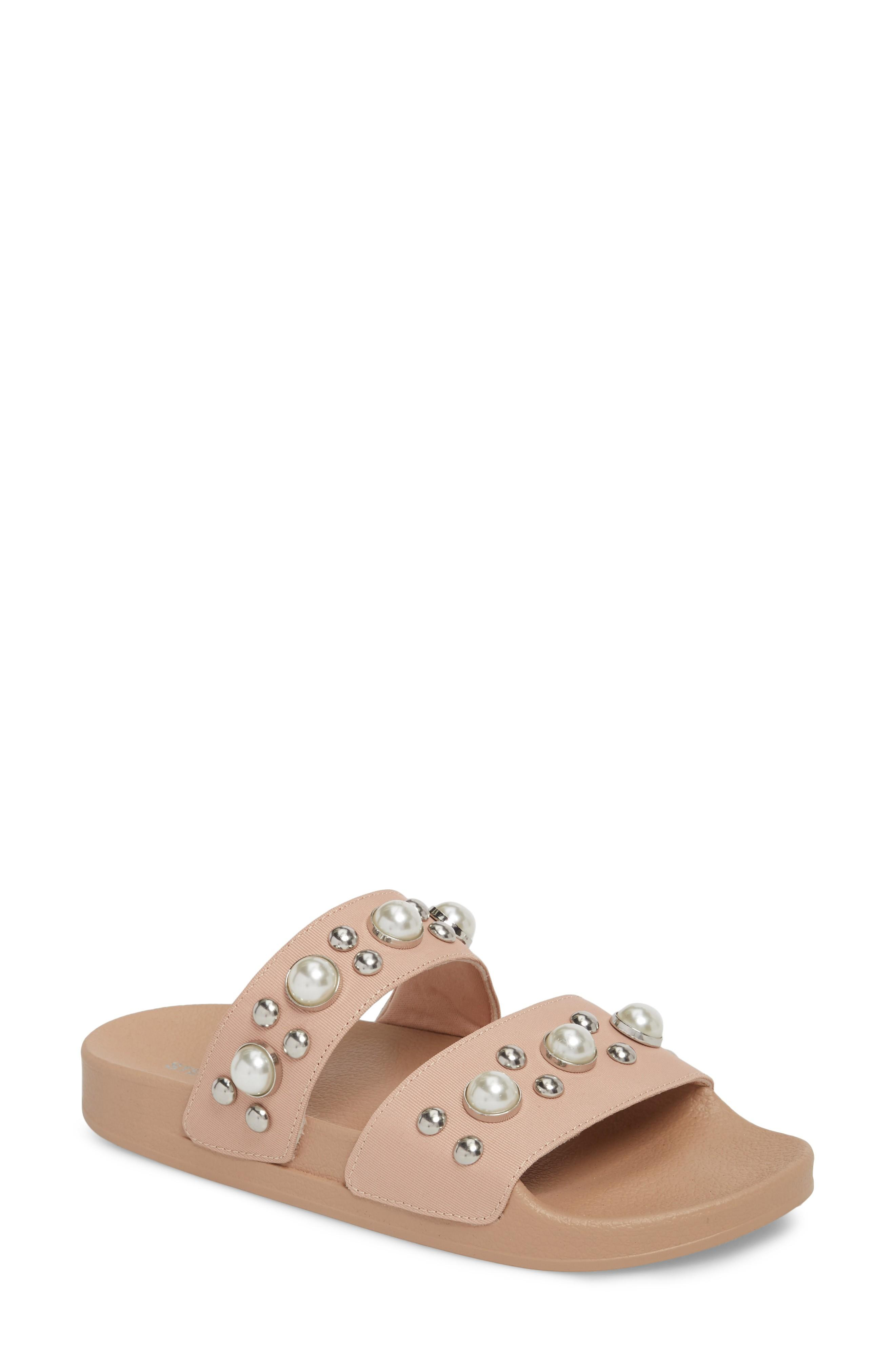 f216eba645c3 Steve Madden Polite Embellished Slide Sandal In Blush