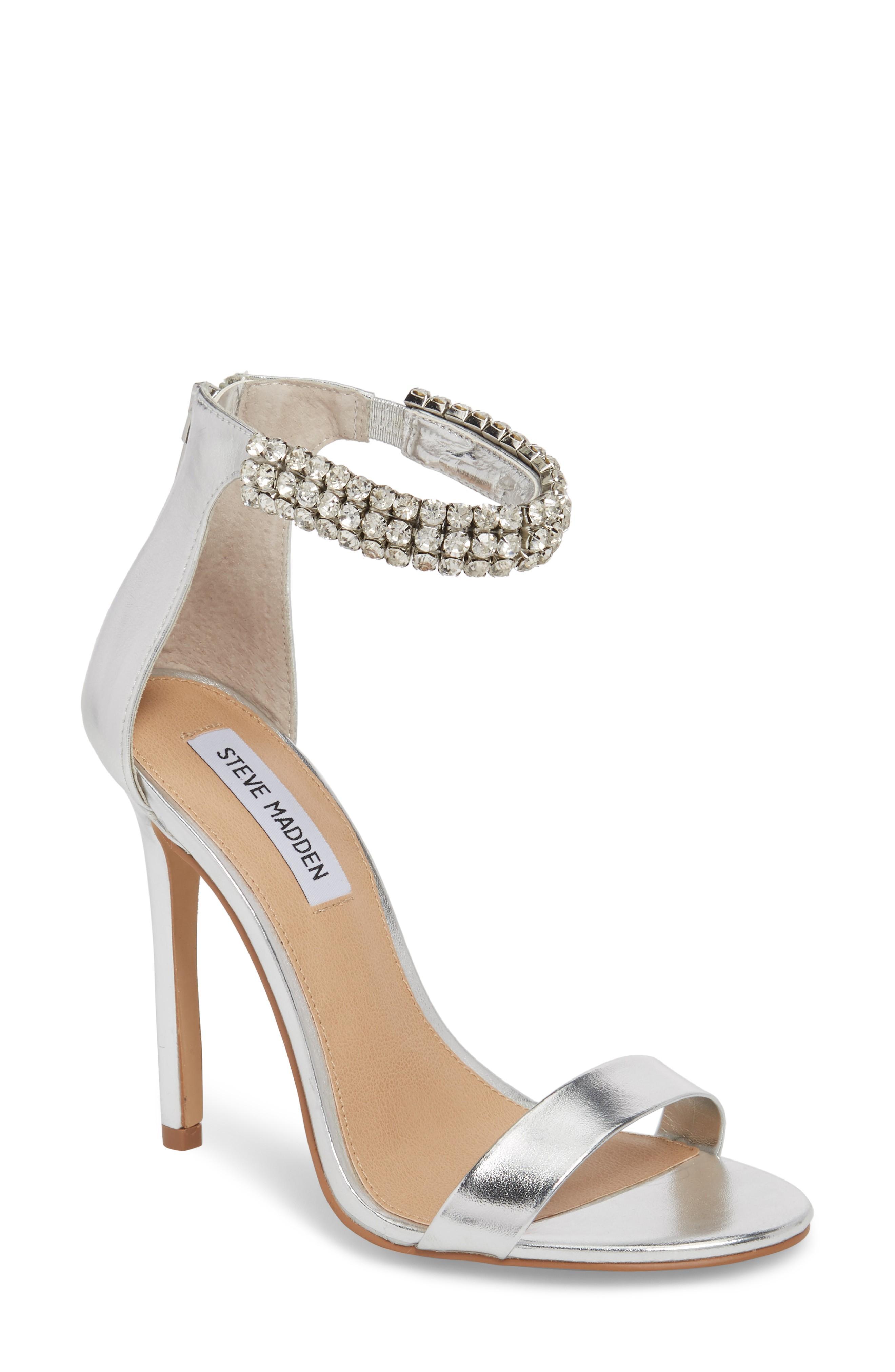 30494775418 Steve Madden Rando Crystal Sandal In Silver