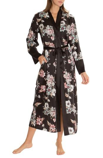 cd51325784e0 Midnight Bakery Floral Kimono Robe In Black | ModeSens