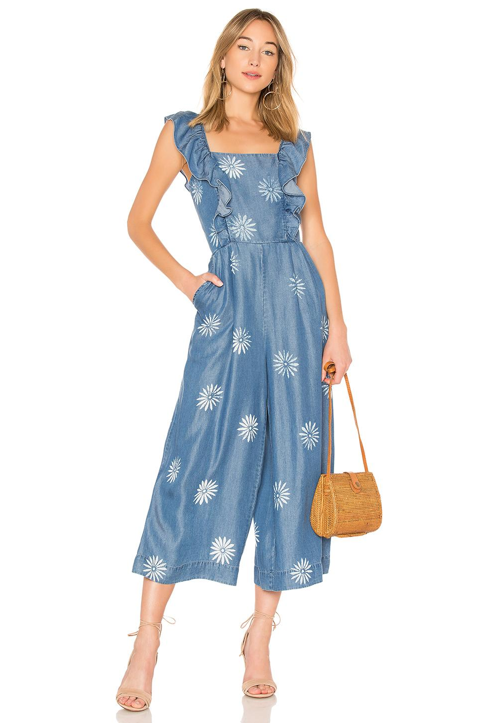 2af46dc22c6 Splendid Dolce Floral Chambray Wide-Leg Jumpsuit In Mediterranean Wash