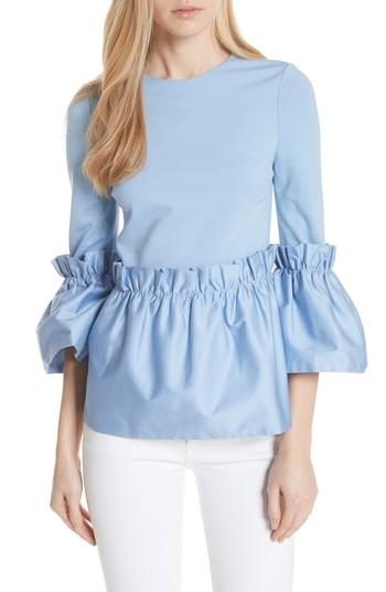 Ted Baker Sherrly Pleated Waist Top In Blue