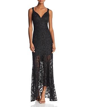 Nicole Miller Sleeveless Lace Sheer-Hem Gown In Black
