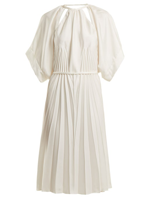 Maison Margiela Pleated Cut-Out Satin Dress In White