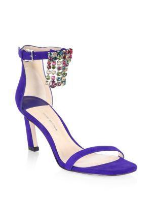 fc3c0c28c510 Stuart Weitzman Fringe Square Embellished Satin Sandals In Blue Violet