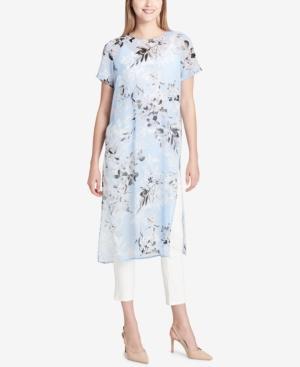Calvin Klein Long Floral-Print Tunic Top In Iceburg