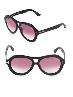 Tom Ford 56Mm Round Sunglasses In Black