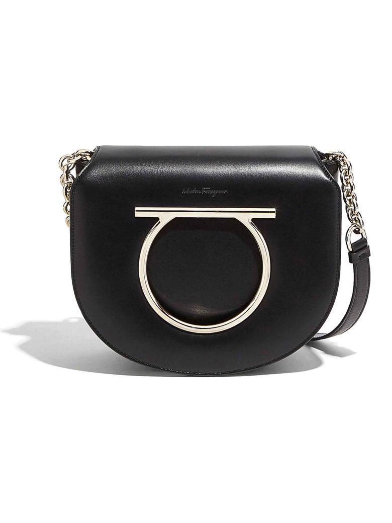 Salvatore Ferragamo Gancini Flap Shoulder Bag In Black  d22e11b3d836d