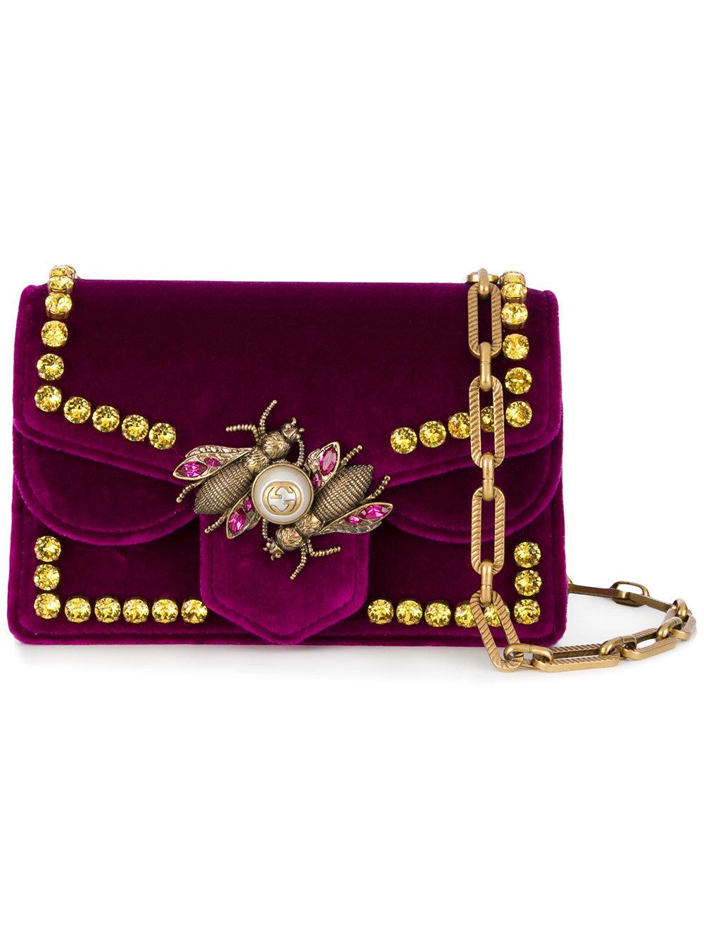 0f9e55dc5185 Gucci Bee Velvet Shoulder Bag In Pink & Purple | ModeSens