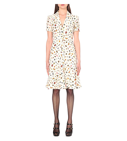 Alexander Mcqueen Obsession Multi Print Tea Dress In Ivory Mix