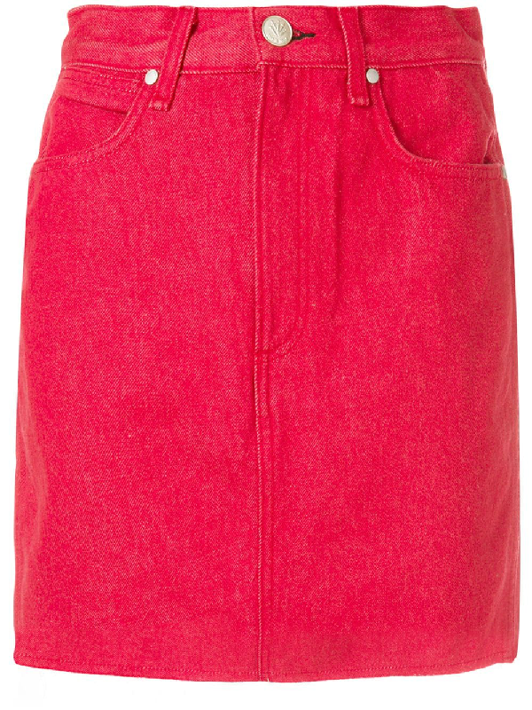 000d8dd4c5 Rag & Bone Moss High-Rise Straight Denim Skirt In Red | ModeSens