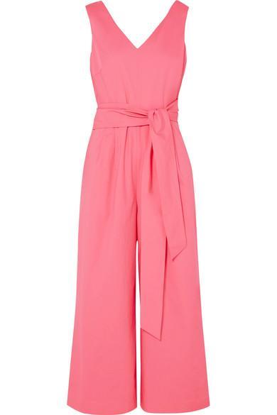 9c84069010 J.Crew Dark Matter Belted Cotton-Blend Poplin Jumpsuit In Pink ...