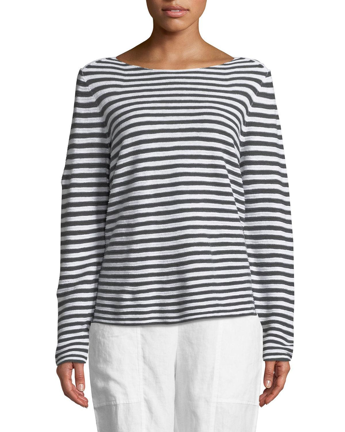 3b2ff6911 Eileen Fisher Striped Long-Sleeve Organic Linen/Cotton Sweater, Plus Size  In Graphite