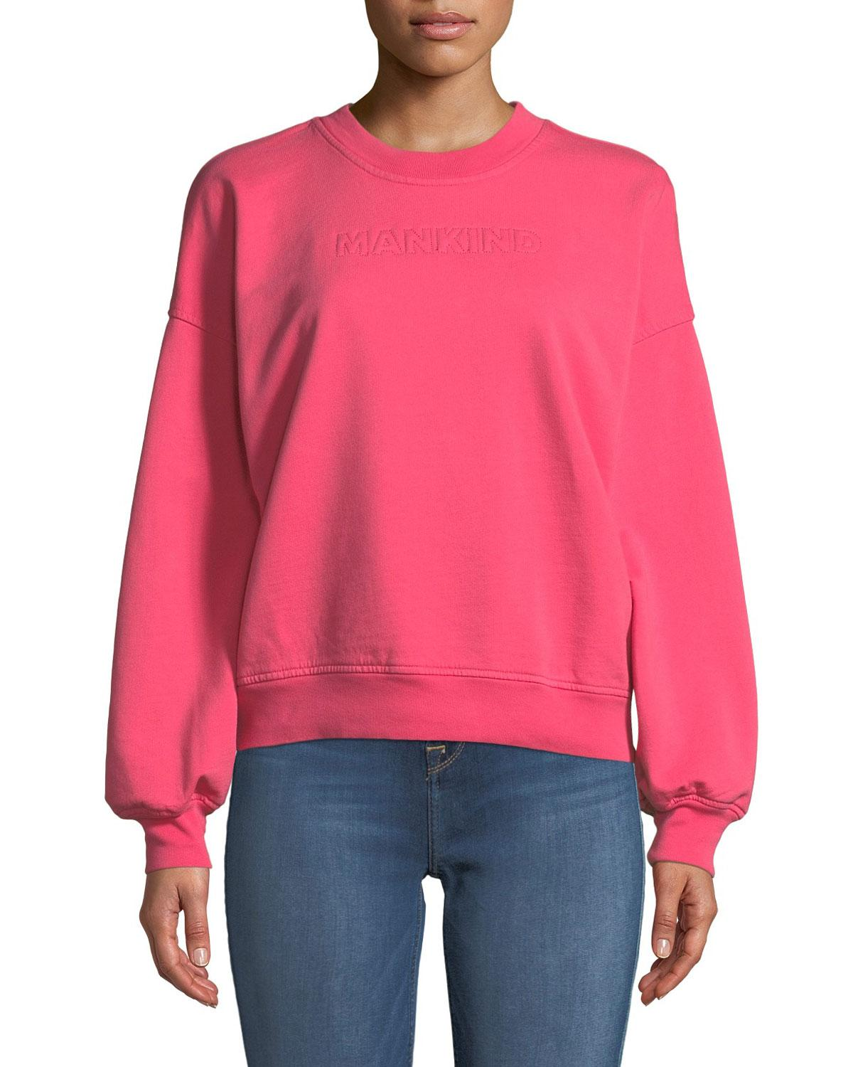 7 For All Mankind Mankind Crewneck Long-Sleeve Cotton Sweatshirt In Pink