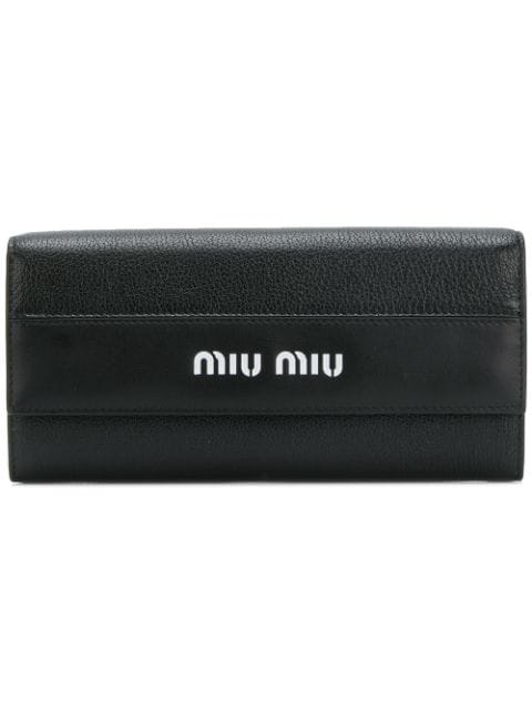 7ddb8926d6d Miu Miu Madras Goat Leather And Leather Wallet In Black | ModeSens