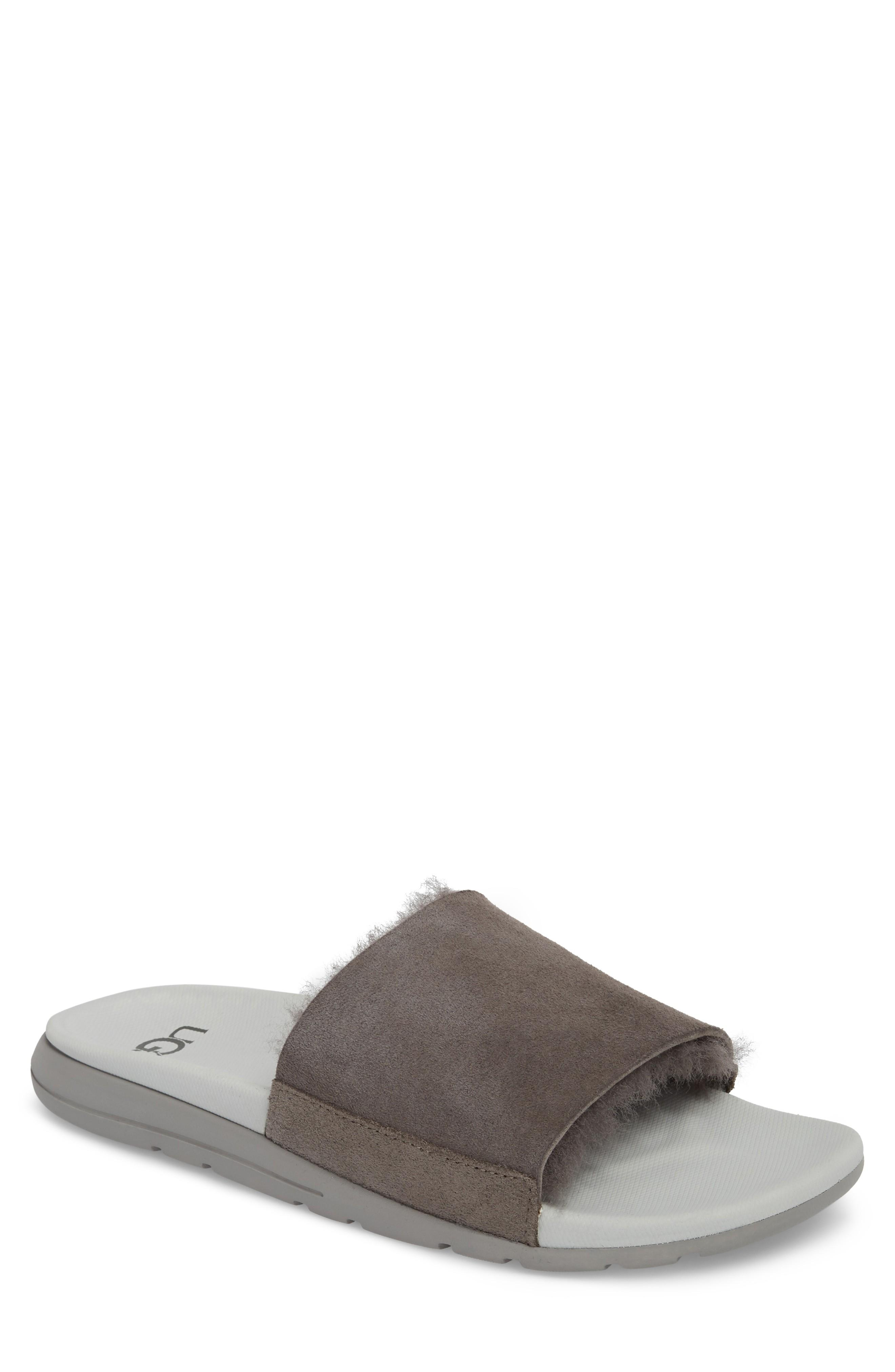 d3460a836a4 Ugg Xavier Tf Genuine Shearling Slide Sandal in Charcoal Leather