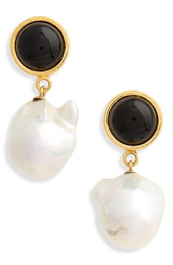 Lizzie Fortunato Tuxedo Pearl Drop Earrings