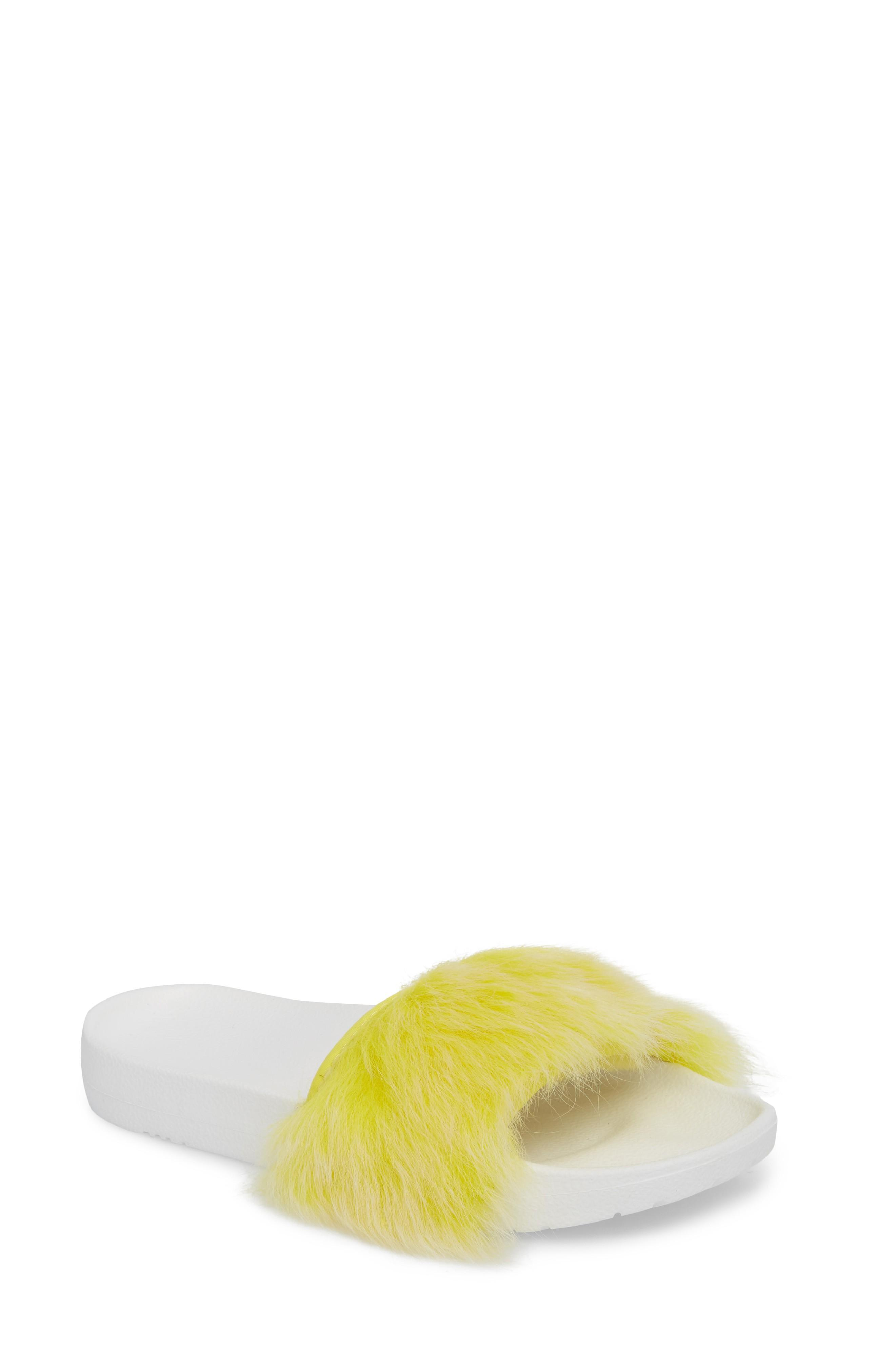 34e793fa687 Ugg Royale Genuine Shearling Slide Sandal in Lemon Yellow
