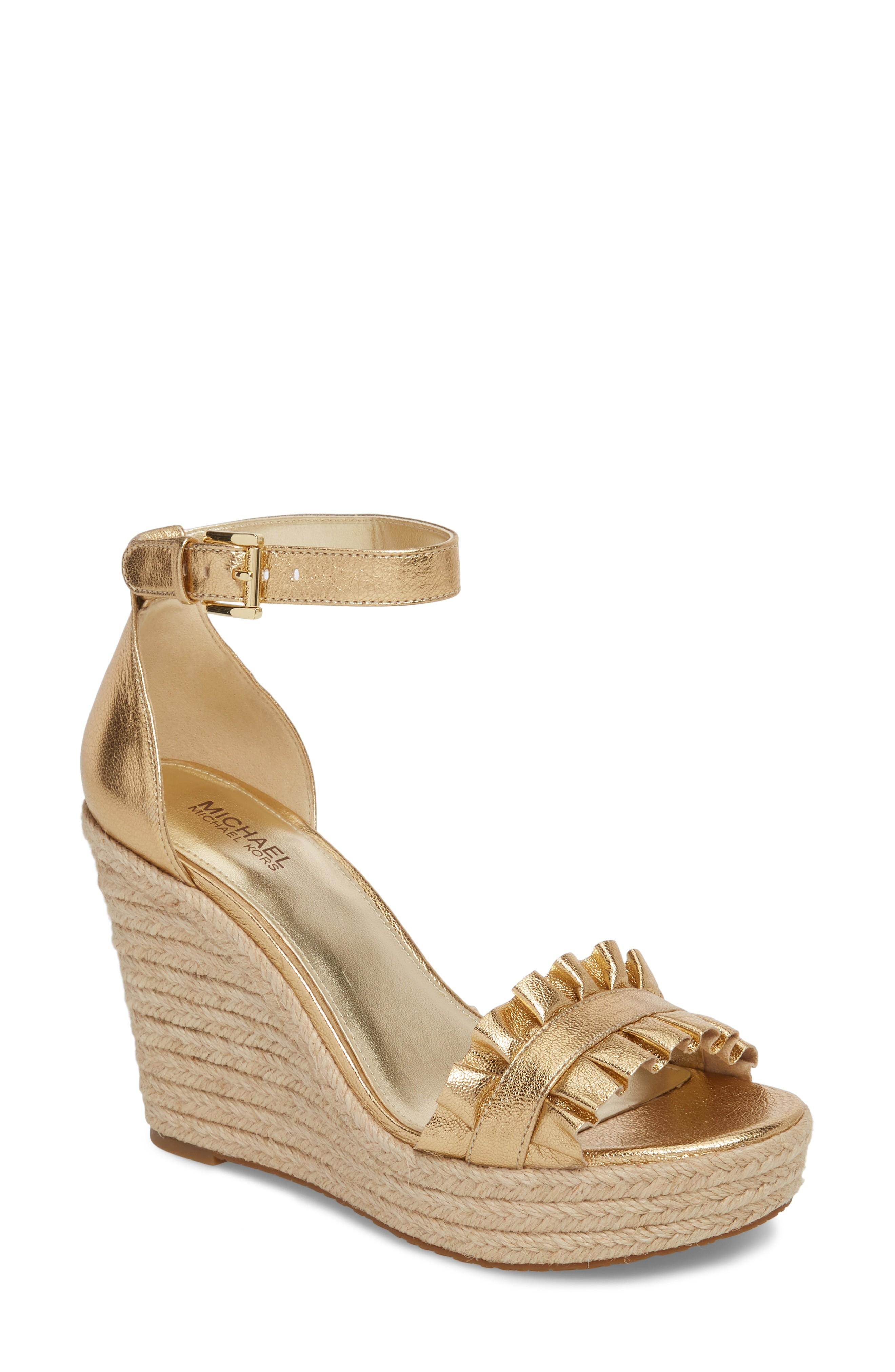 9d22f1be9750 Michael Michael Kors Bella Ruched Metallic Leather Wedge Sandal In Pale Gold