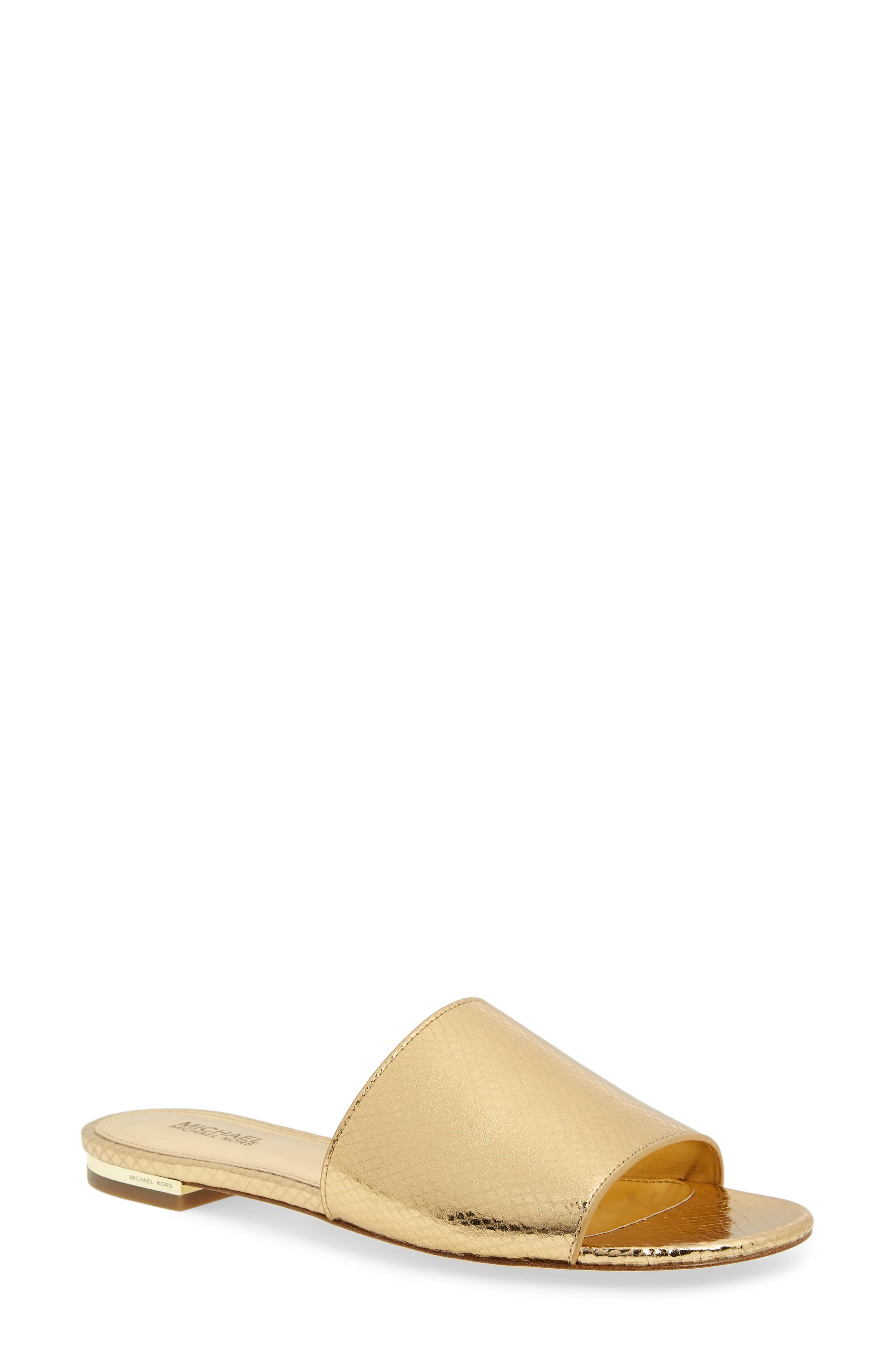 3c1023d82a7d Michael Michael Kors Shelly Slide Sandal In Gold