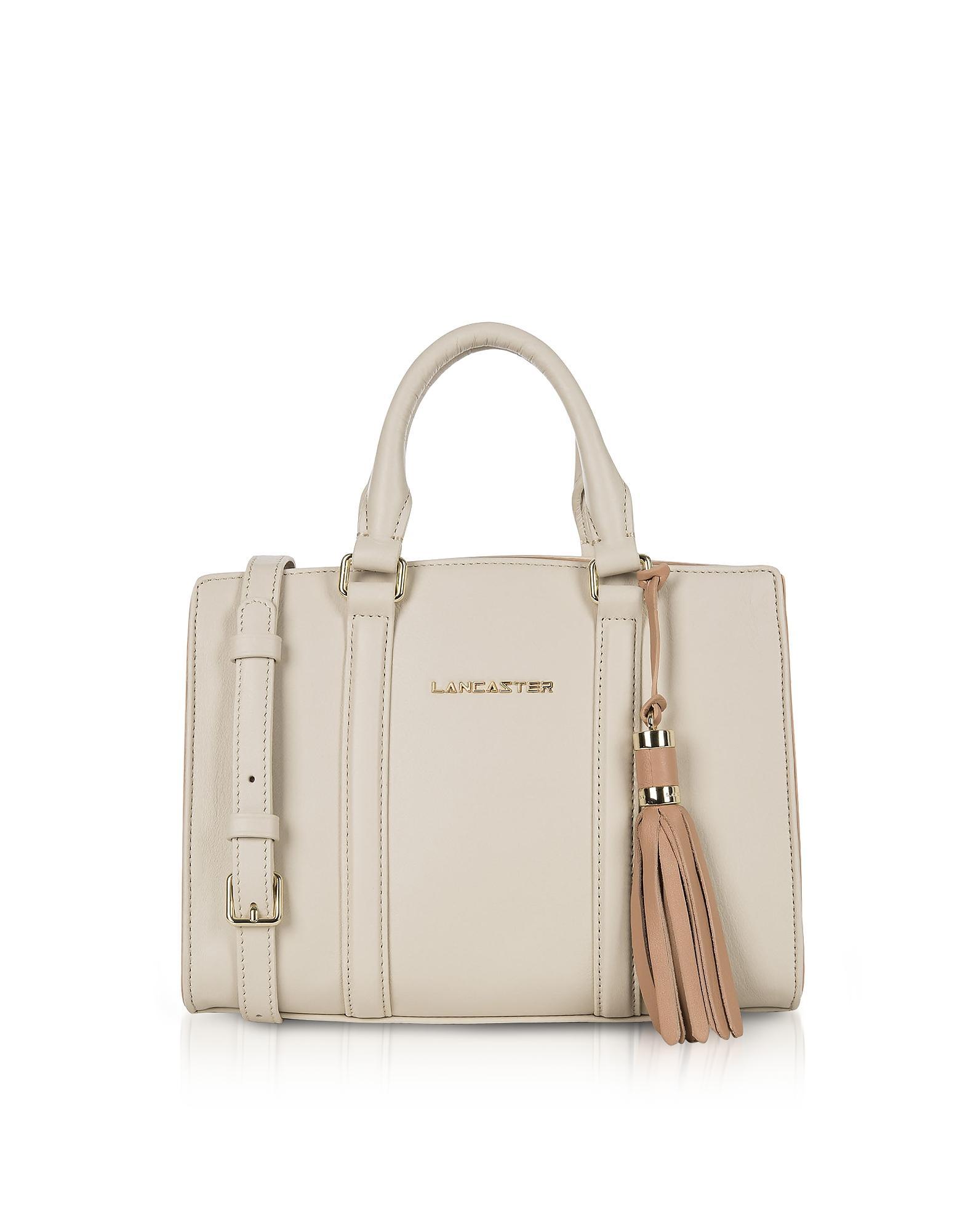 fd33c4894b8784 Lancaster Mademoiselle Ana Beige/Nude Leather Small Satchel Bag ...