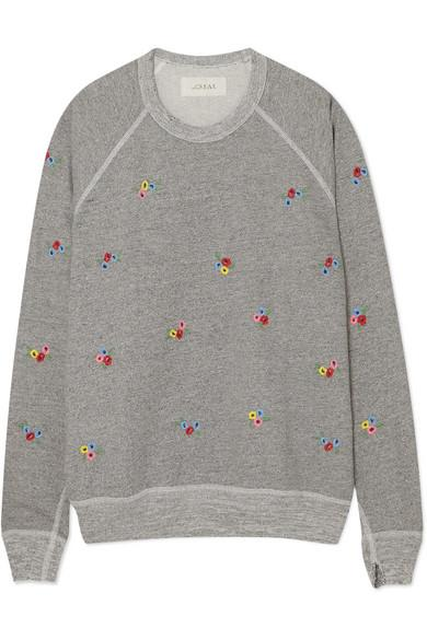 The Great The College Embroidered Cotton-blend Jersey Sweatshirt In Varsity Grey W/ Bouquet Emb