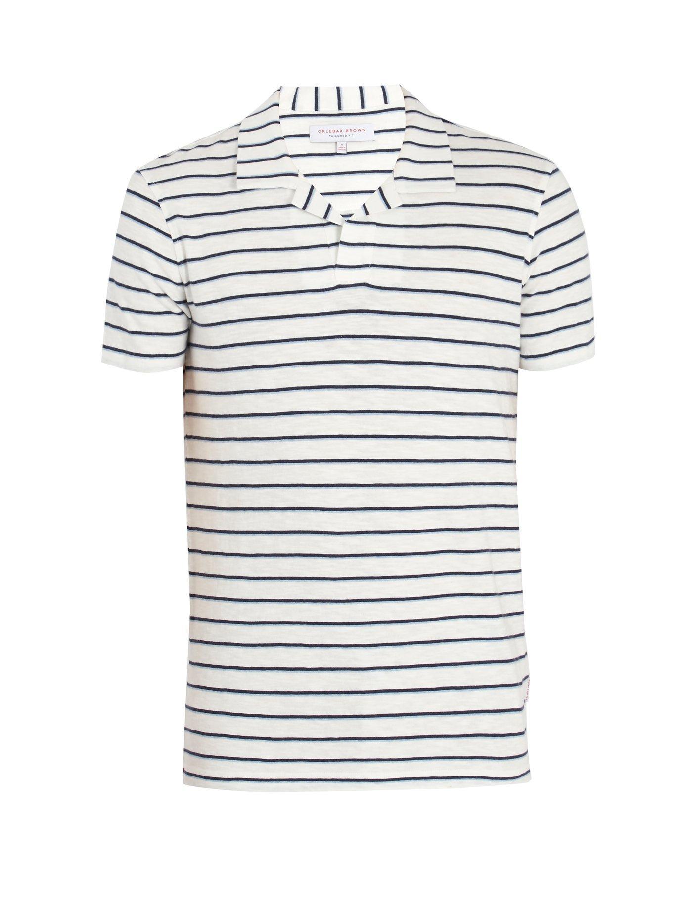 74ed51ea Orlebar Brown Felix Striped Cotton Polo Shirt In White Multi | ModeSens