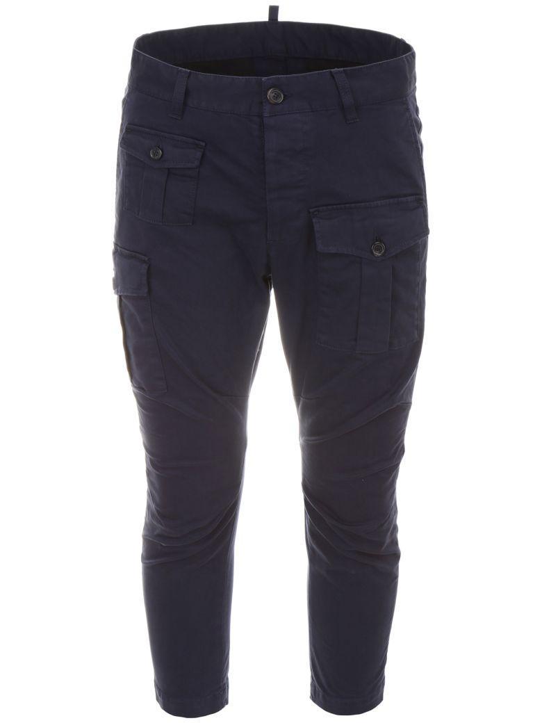 Dsquared2 Cargo Trousers In Blue Denimblu