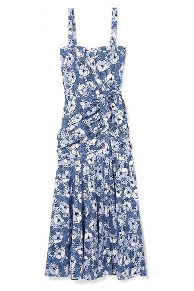 Veronica Beard Marena Gathered Printed Cotton-poplin Midi Dress In Blue