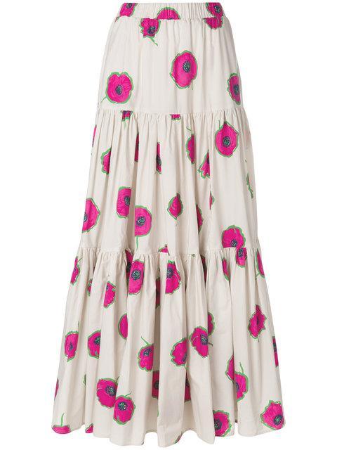 La Doublej Long Floral Print Skirt In Pink