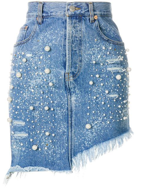 Forte Couture Pearl Embellished Denim Skirt