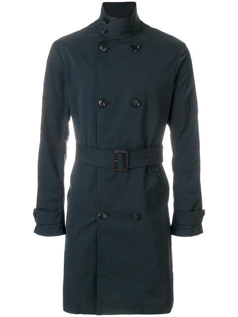 Emporio Armani Double Breasted Coat - Blue
