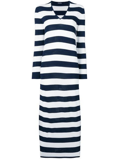 Max Mara Striped V-neck Dress
