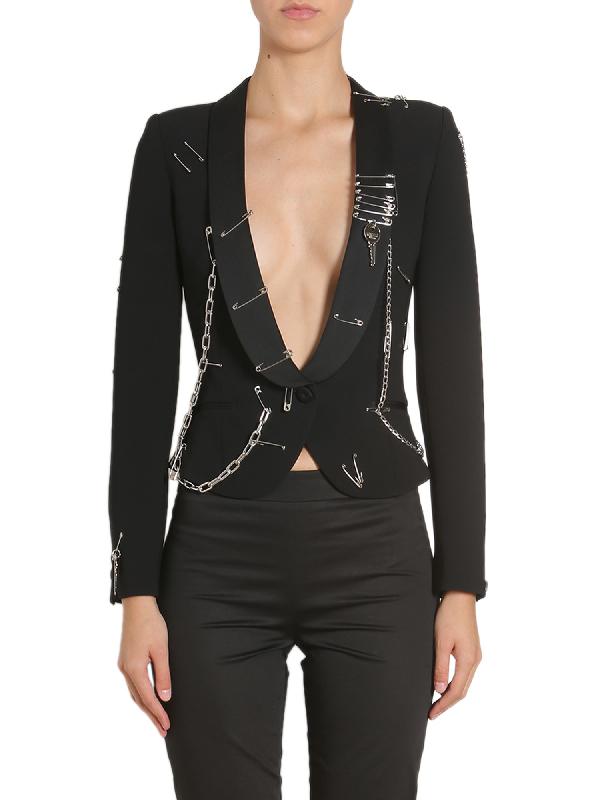Moschino Embellished Jacket In Black