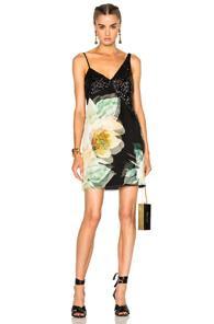 Lanvin Sleeveless Mini Dress In Black,floral,green