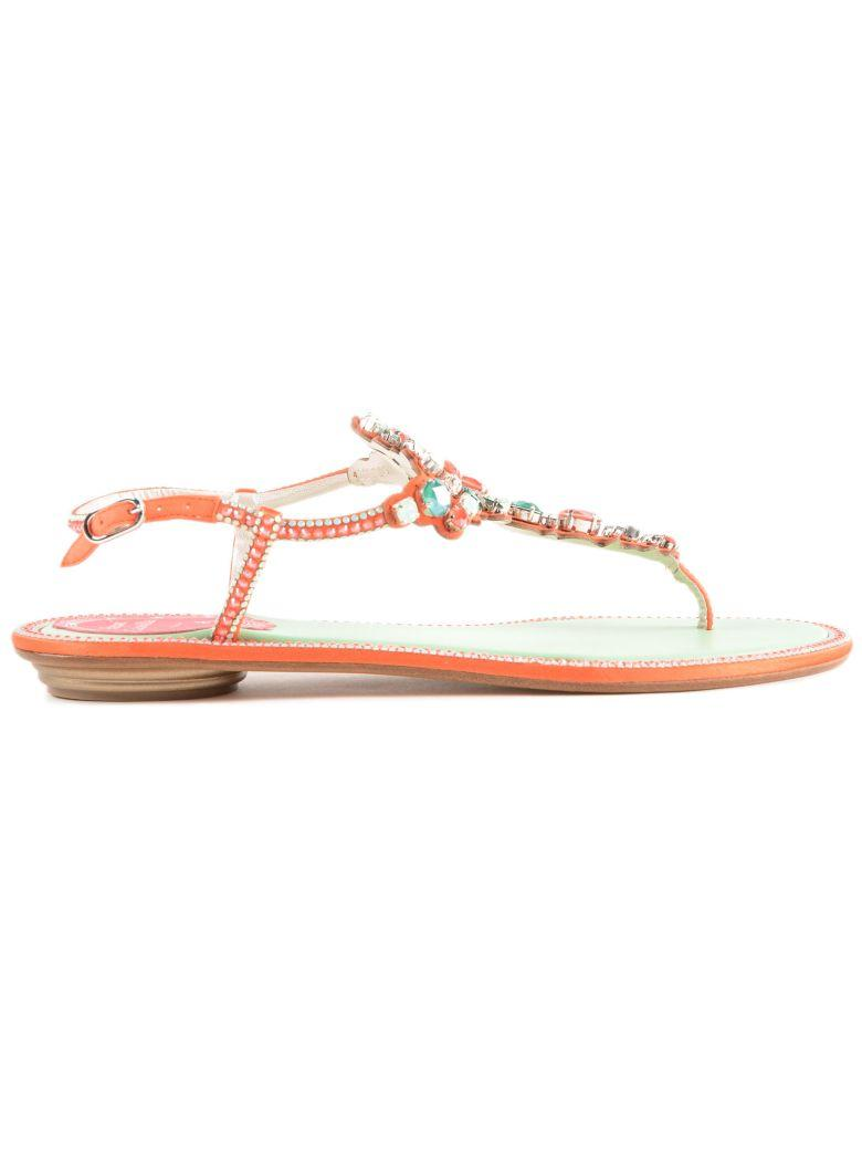 RenÉ Caovilla Embellished Open-toe Sandals In Coral Mint Satin