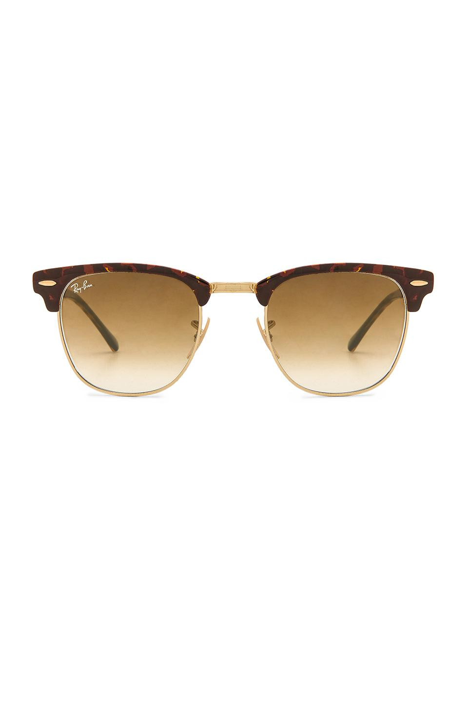 Ray Ban Metal Clubmaster In Metallic Gold