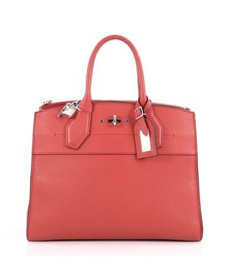 Louis Vuitton Pre-owned: City Steamer Handbag Leather Mm In Red
