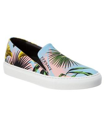 Versace Beverly Palm Print Leather Slip In Blue